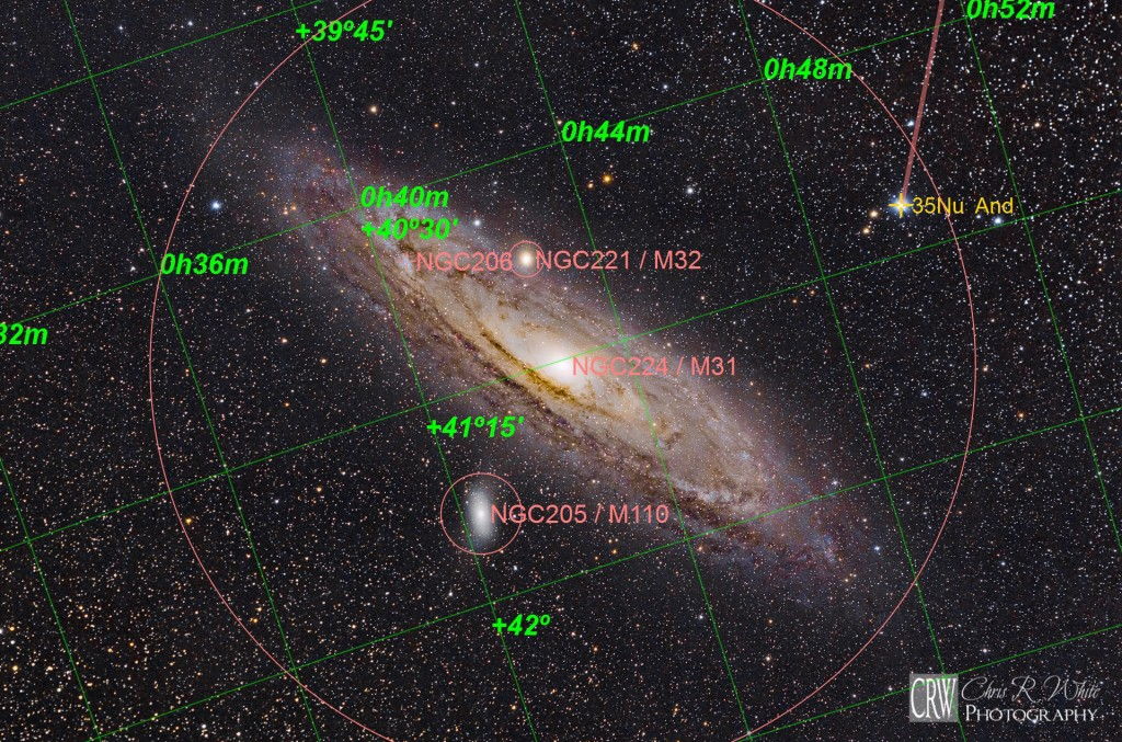Located within the constellation of Andromeda, M31 is also flanked by two additional Messier Objects, M32 and M110.